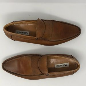 """Steve Madden """"Conduct"""" Brown Leather Loafers Sz 11"""